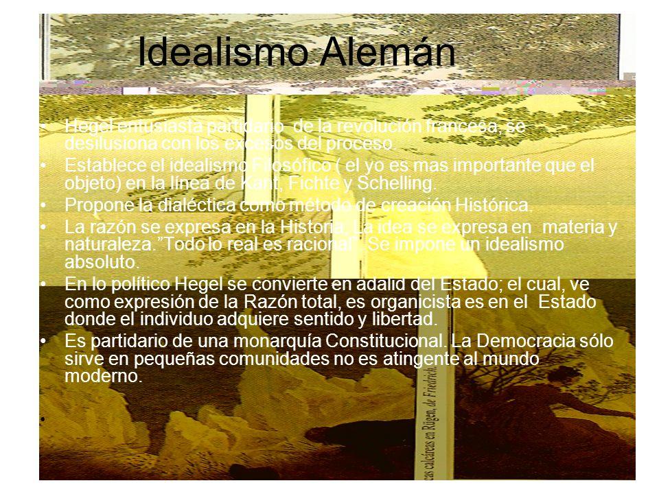Idealismo Alemán Hegel entusiasta partidario de la revolución francesa, se desilusiona con los excesos del proceso. Establece el idealismo Filosófico