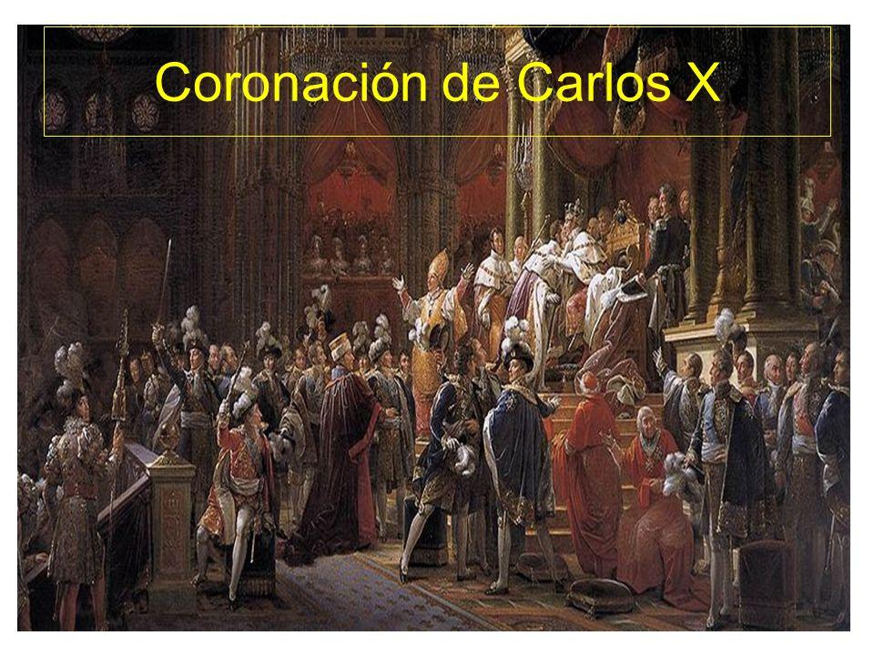 Revolución de 1830 Reinado de Carlos X, monarca reaccionario ; deroga la constitución de 1814, reduce el cuerpo electoral y suprime la libertad de prensa.