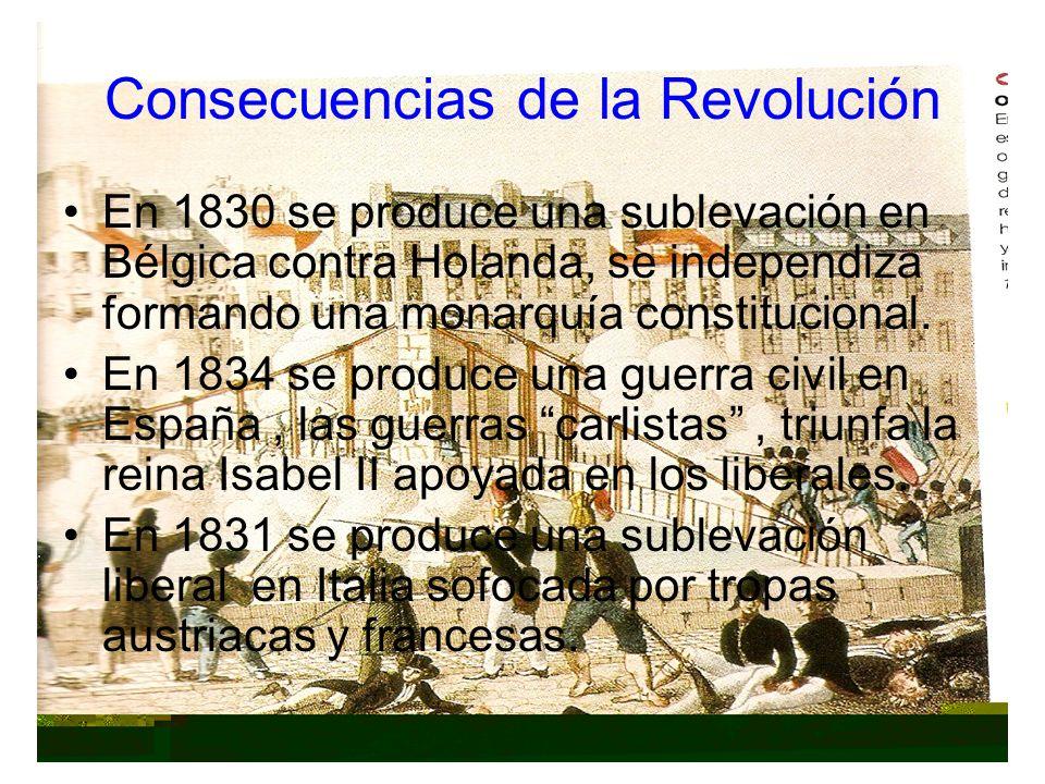 Consecuencias de la Revolución En 1830 se produce una sublevación en Bélgica contra Holanda, se independiza formando una monarquía constitucional. En