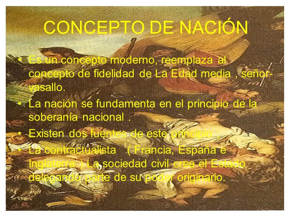 CONCEPTO DE NACIÓN Es un concepto moderno, reemplaza al concepto de fidelidad de La Edad media, señor- vasallo. La nación se fundamenta en el principi