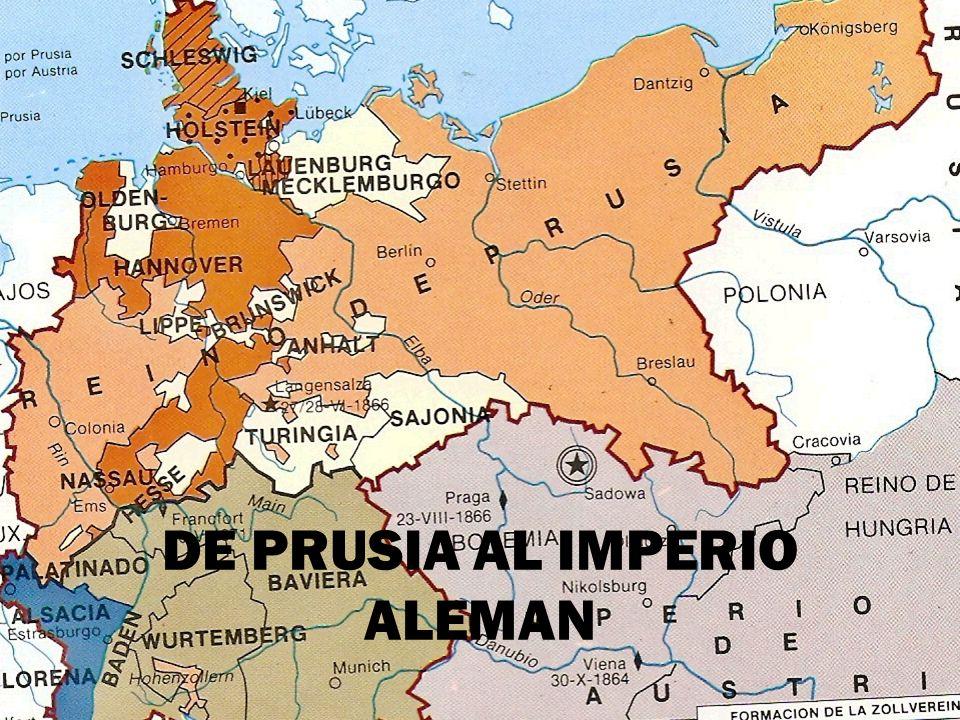 FORMACION DEL IMPERIO ALEMAN El congreso de Viena mantuvo la separación de Alemania en 39 Estados.