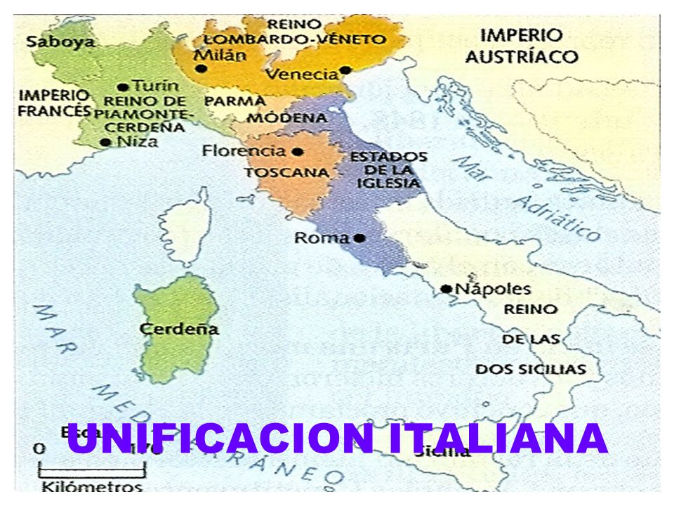 PROCESO DE UNIFICACION ITALIANA El congreso de Viena mantuvo la división de Italia.