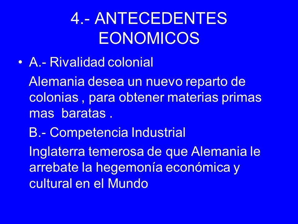 4.- ANTECEDENTES EONOMICOS A.- Rivalidad colonial Alemania desea un nuevo reparto de colonias, para obtener materias primas mas baratas. B.- Competenc