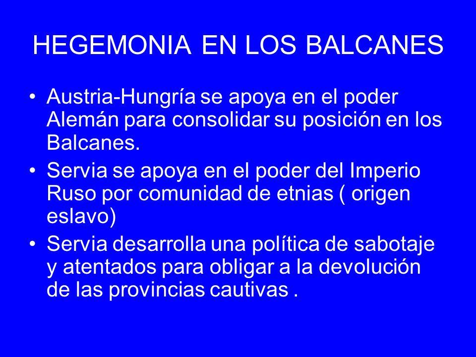 HEGEMONIA EN LOS BALCANES Austria-Hungría se apoya en el poder Alemán para consolidar su posición en los Balcanes. Servia se apoya en el poder del Imp
