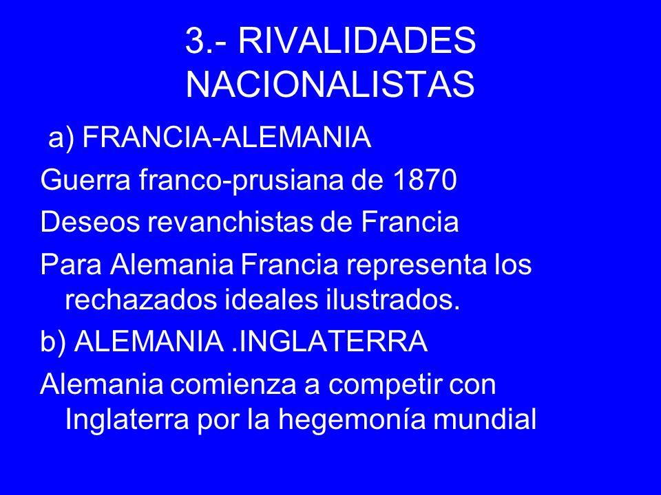 3.- RIVALIDADES NACIONALISTAS a) FRANCIA-ALEMANIA Guerra franco-prusiana de 1870 Deseos revanchistas de Francia Para Alemania Francia representa los r