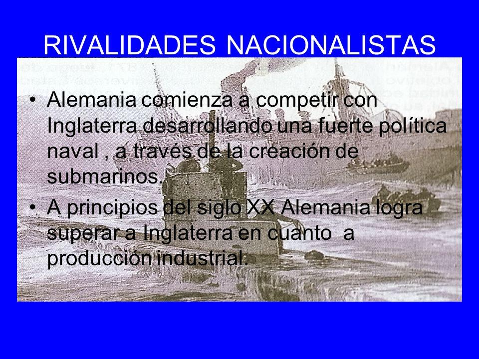 RIVALIDADES NACIONALISTAS Alemania comienza a competir con Inglaterra desarrollando una fuerte política naval, a través de la creación de submarinos.
