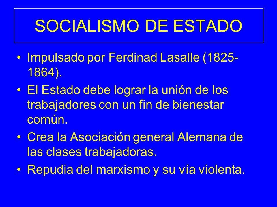 SOCIALISMO DE ESTADO Impulsado por Ferdinad Lasalle (1825- 1864). El Estado debe lograr la unión de los trabajadores con un fin de bienestar común. Cr