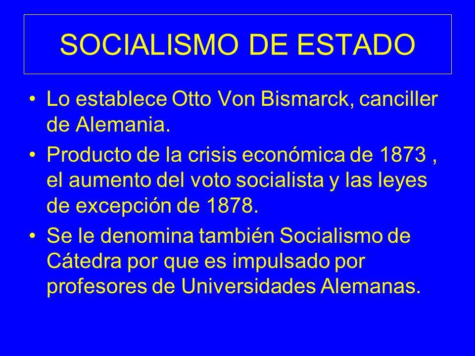 SOCIALISMO DE ESTADO Lo establece Otto Von Bismarck, canciller de Alemania. Producto de la crisis económica de 1873, el aumento del voto socialista y