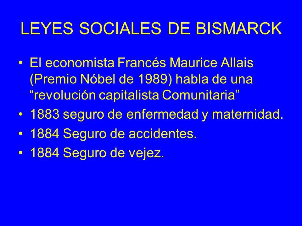 LEYES SOCIALES DE BISMARCK El economista Francés Maurice Allais (Premio Nóbel de 1989) habla de una revolución capitalista Comunitaria 1883 seguro de