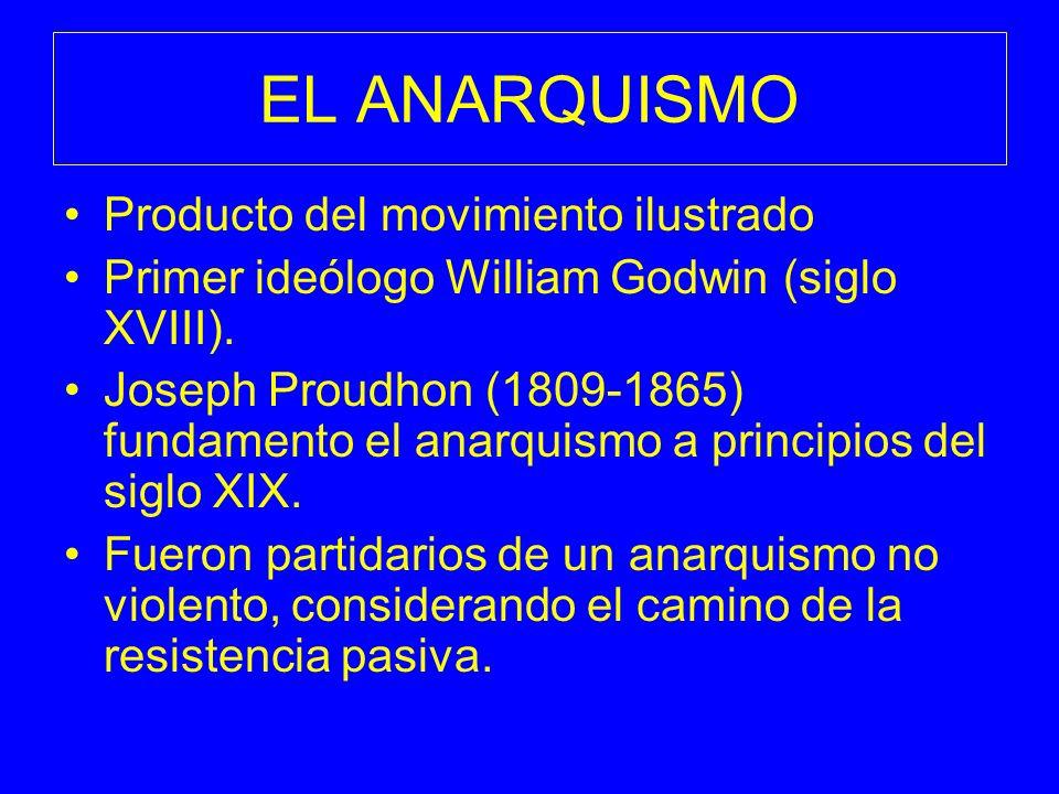 EL ANARQUISMO Producto del movimiento ilustrado Primer ideólogo William Godwin (siglo XVIII). Joseph Proudhon (1809-1865) fundamento el anarquismo a p