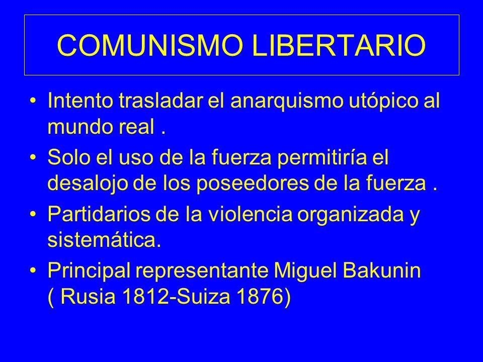 COMUNISMO LIBERTARIO Intento trasladar el anarquismo utópico al mundo real. Solo el uso de la fuerza permitiría el desalojo de los poseedores de la fu
