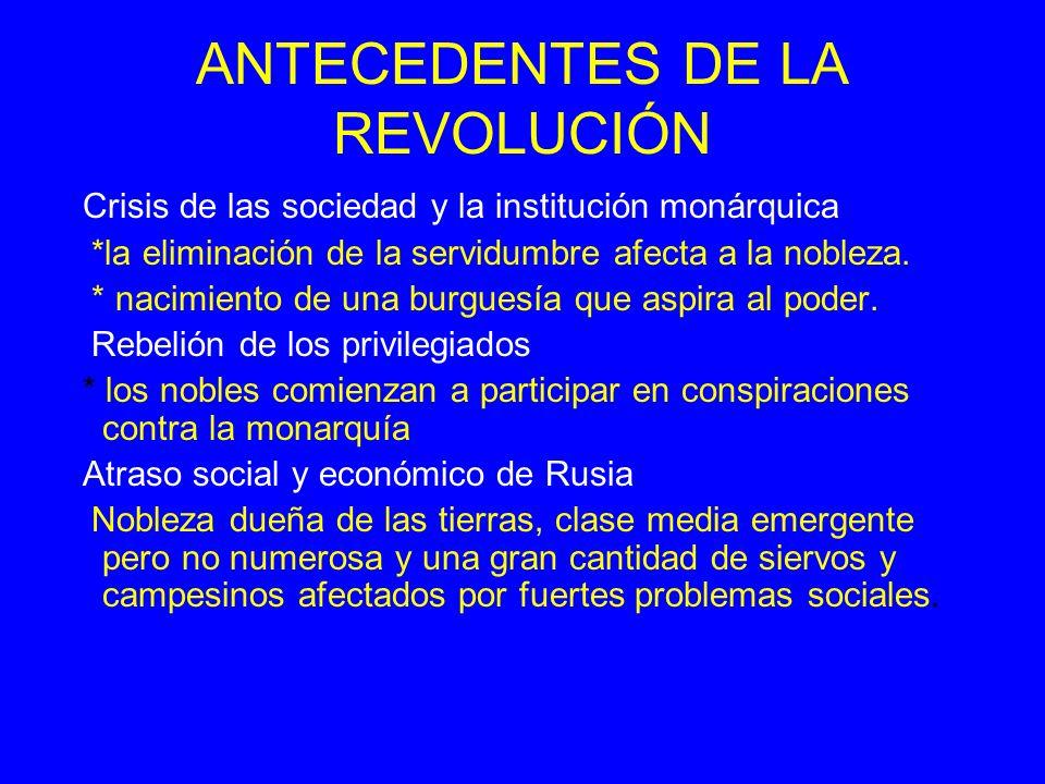 ANTECEDENTES DE LA REVOLUCIÓN Crisis de las sociedad y la institución monárquica *la eliminación de la servidumbre afecta a la nobleza. * nacimiento d