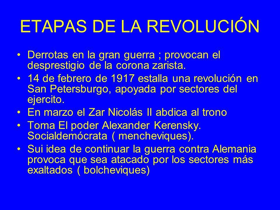 ETAPAS DE LA REVOLUCIÓN Derrotas en la gran guerra ; provocan el desprestigio de la corona zarista. 14 de febrero de 1917 estalla una revolución en Sa