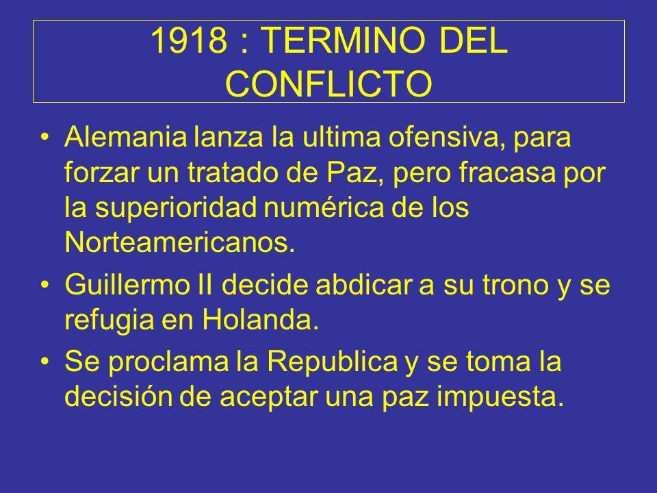 1918 : TERMINO DEL CONFLICTO Alemania lanza la ultima ofensiva, para forzar un tratado de Paz, pero fracasa por la superioridad numérica de los Nortea