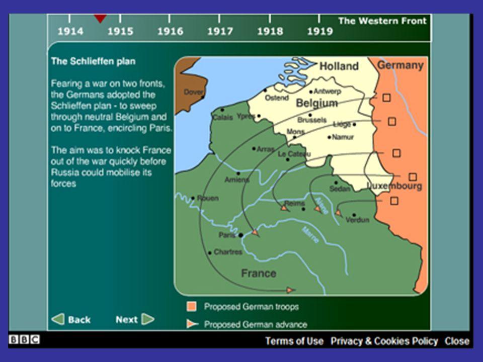 FRENTE ORIENTAL Rusia intenta invadir Prusia Oriental, pero Alemania logra la victoria de Tannenberg e invade territorio Ruso.