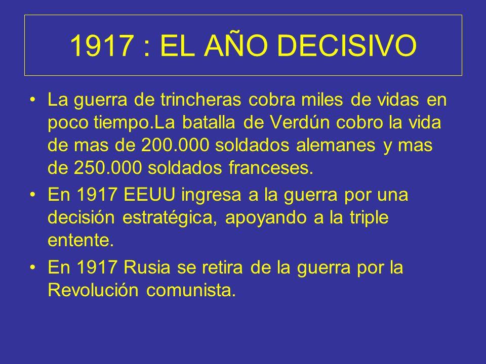 1917 : EL AÑO DECISIVO La guerra de trincheras cobra miles de vidas en poco tiempo.La batalla de Verdún cobro la vida de mas de 200.000 soldados alema
