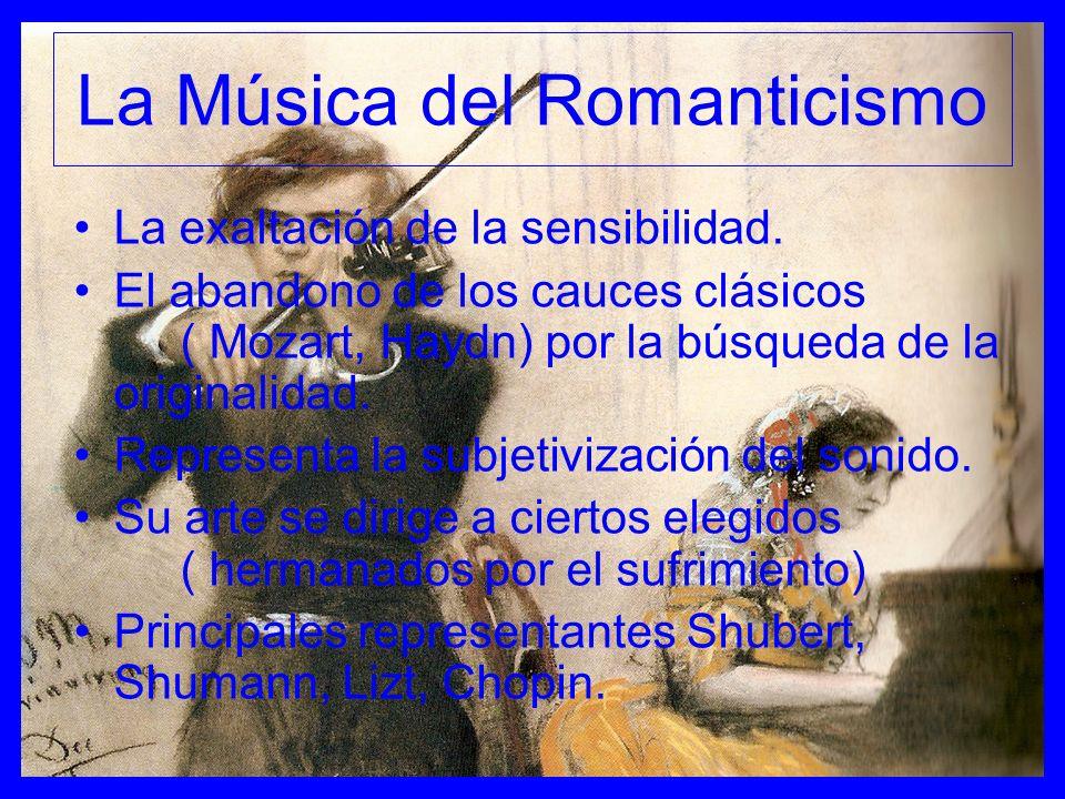 La Música del Romanticismo La exaltación de la sensibilidad. El abandono de los cauces clásicos ( Mozart, Haydn) por la búsqueda de la originalidad. R