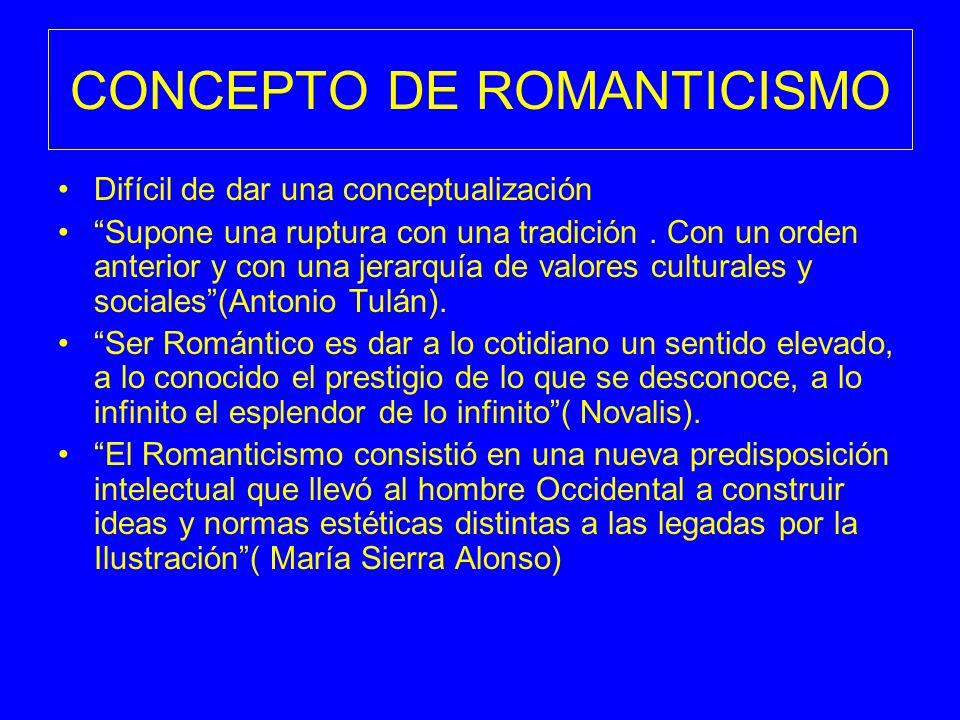 CONCEPTO DE ROMANTICISMO Difícil de dar una conceptualización Supone una ruptura con una tradición. Con un orden anterior y con una jerarquía de valor