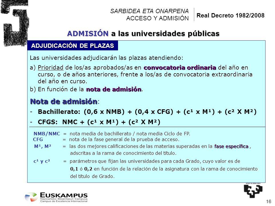 16 SARBIDEA ETA ONARPENA ACCESO Y ADMISIÓN Las universidades adjudicarán las plazas atendiendo: a)Prioridad de los/as aprobados/as en convocatoria ord