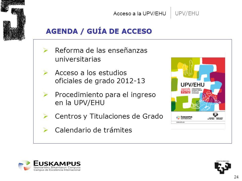 24 UPV/EHU Acceso a la UPV/EHU Reforma de las enseñanzas universitarias Acceso a los estudios oficiales de grado 2012-13 Procedimiento para el ingreso
