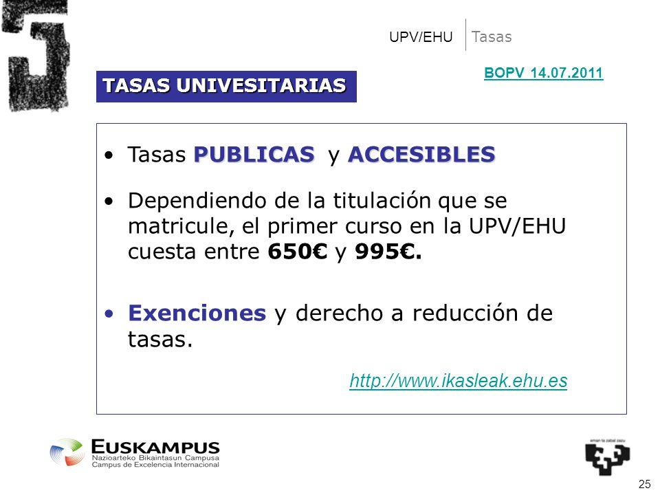 25 Tasas PUBLICAS ACCESIBLESTasas PUBLICAS y ACCESIBLES Dependiendo de la titulación que se matricule, el primer curso en la UPV/EHU cuesta entre 650