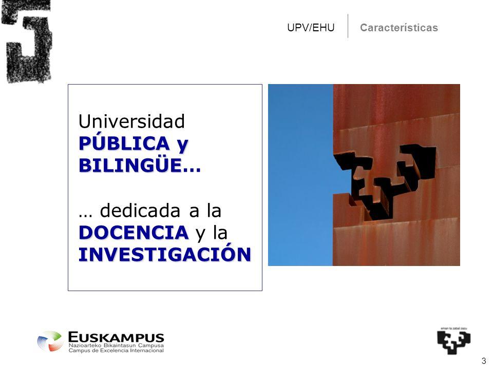 3 CaracterísticasUPV/EHU PÚBLICA y BILINGÜE Universidad PÚBLICA y BILINGÜE… DOCENCIA … dedicada a la DOCENCIA y laINVESTIGACIÓN