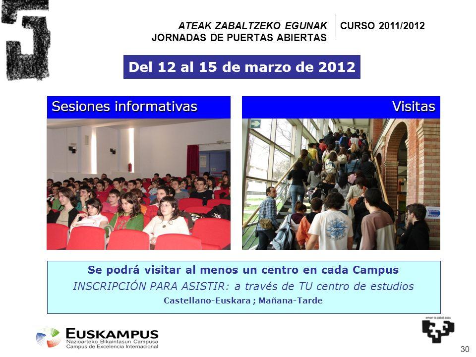 30 Sesiones informativas Visitas Se podrá visitar al menos un centro en cada Campus INSCRIPCIÓN PARA ASISTIR: a través de TU centro de estudios Castel