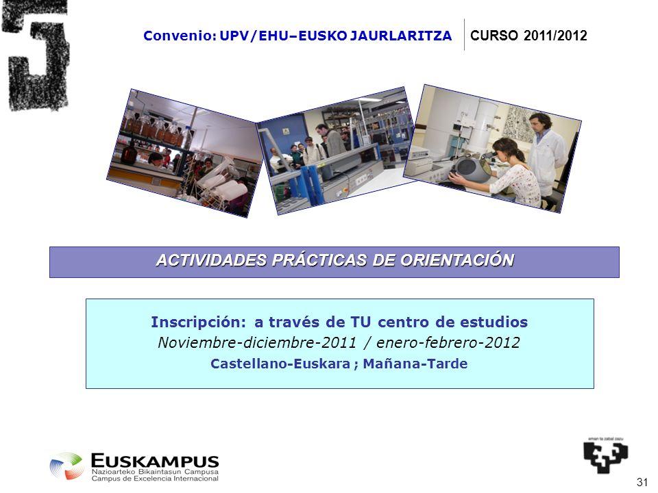 31 ACTIVIDADES PRÁCTICAS DE ORIENTACIÓN Inscripción: a través de TU centro de estudios Noviembre-diciembre-2011 / enero-febrero-2012 Castellano-Euskar