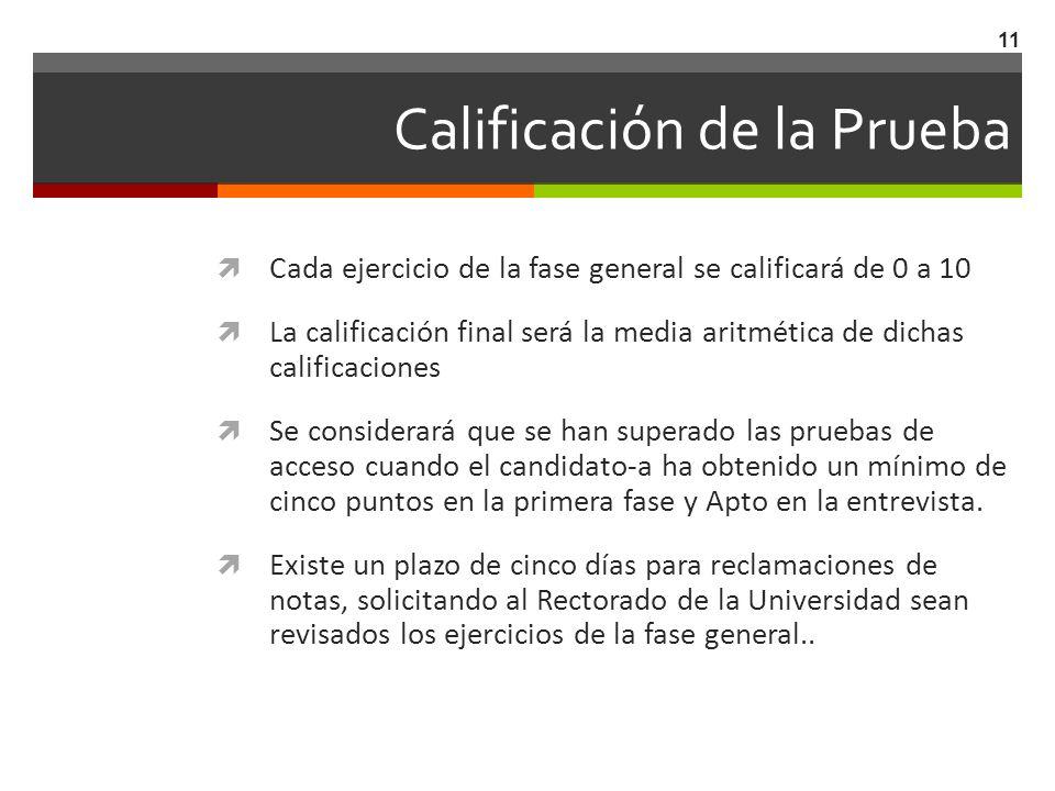 Calificación de la Prueba Cada ejercicio de la fase general se calificará de 0 a 10 La calificación final será la media aritmética de dichas calificac