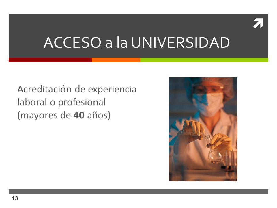 13 ACCESO a la UNIVERSIDAD Acreditación de experiencia laboral o profesional (mayores de 40 años)
