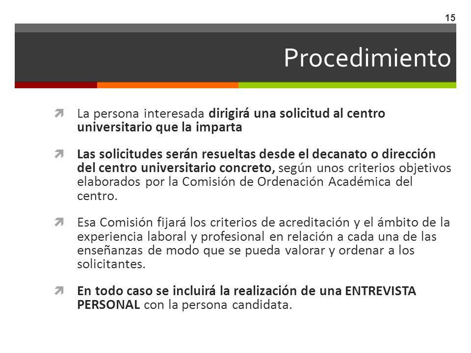 Procedimiento La persona interesada dirigirá una solicitud al centro universitario que la imparta Las solicitudes serán resueltas desde el decanato o