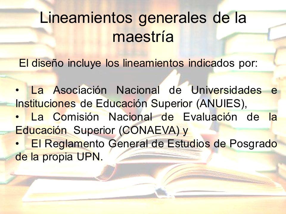 Lineamientos generales de la maestría El diseño incluye los lineamientos indicados por: La Asociación Nacional de Universidades e Instituciones de Edu