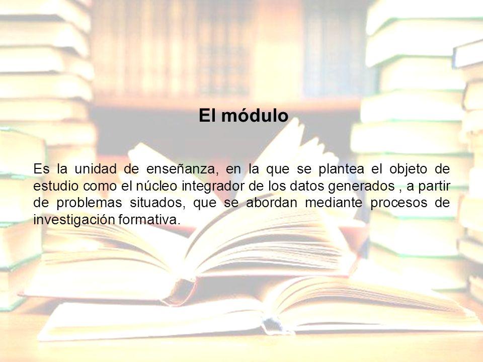 El módulo Es la unidad de enseñanza, en la que se plantea el objeto de estudio como el núcleo integrador de los datos generados, a partir de problemas