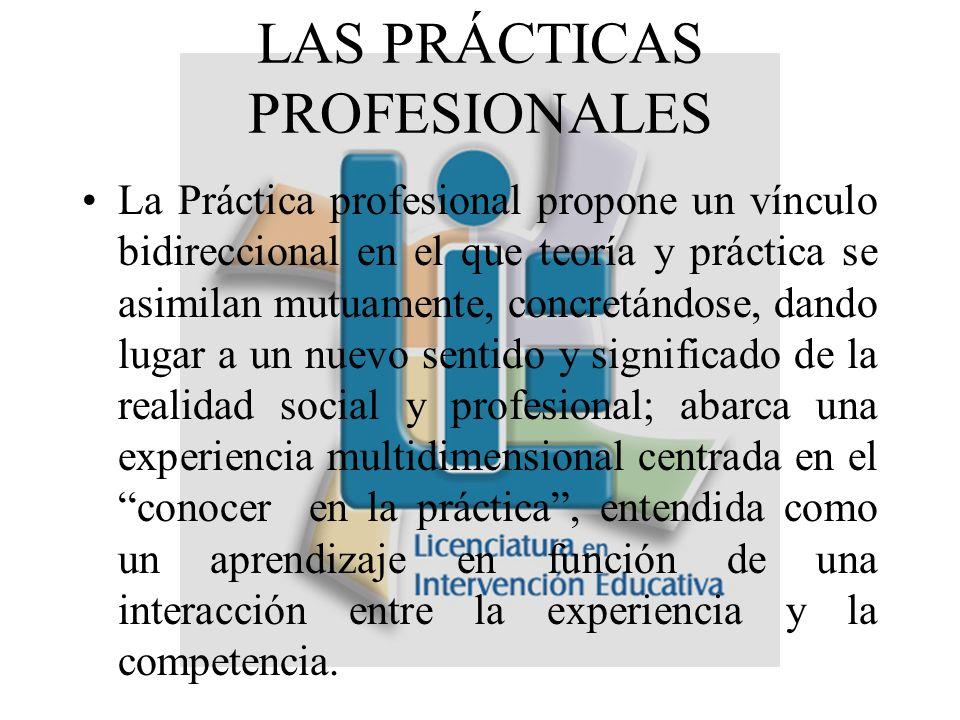 La Práctica profesional propone un vínculo bidireccional en el que teoría y práctica se asimilan mutuamente, concretándose, dando lugar a un nuevo sentido y significado de la realidad social y profesional; abarca una experiencia multidimensional centrada en el conocer en la práctica, entendida como un aprendizaje en función de una interacción entre la experiencia y la competencia.