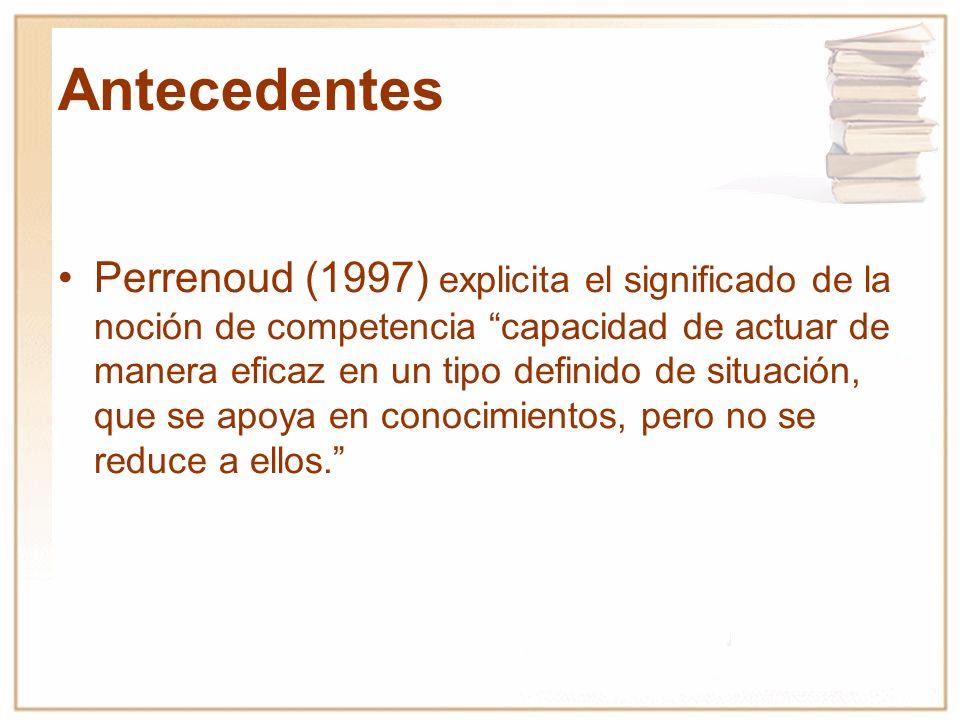 Perrenoud (1997) explicita el significado de la noción de competencia capacidad de actuar de manera eficaz en un tipo definido de situación, que se ap