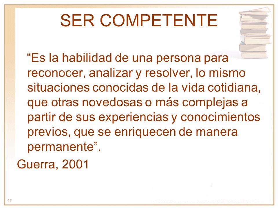 11 SER COMPETENTE Es la habilidad de una persona para reconocer, analizar y resolver, lo mismo situaciones conocidas de la vida cotidiana, que otras n