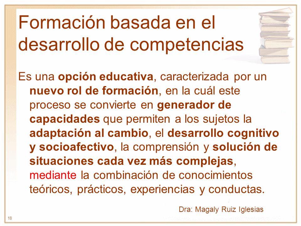18 Formación basada en el desarrollo de competencias Es una opción educativa, caracterizada por un nuevo rol de formación, en la cuál este proceso se