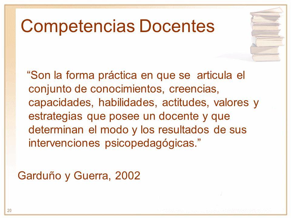 20 Competencias Docentes Son la forma práctica en que se articula el conjunto de conocimientos, creencias, capacidades, habilidades, actitudes, valore