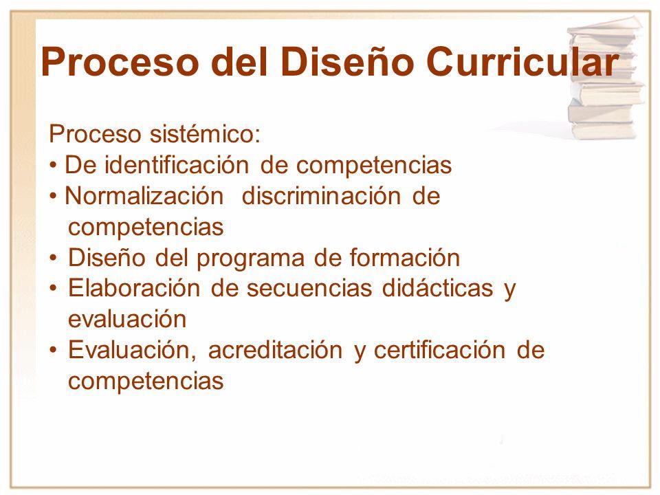 Proceso sistémico: De identificación de competencias Normalización discriminación de competencias Diseño del programa de formación Elaboración de secu