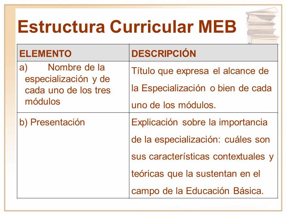 Estructura Curricular MEB ELEMENTODESCRIPCIÓN a)Nombre de la especialización y de cada uno de los tres módulos Título que expresa el alcance de la Esp