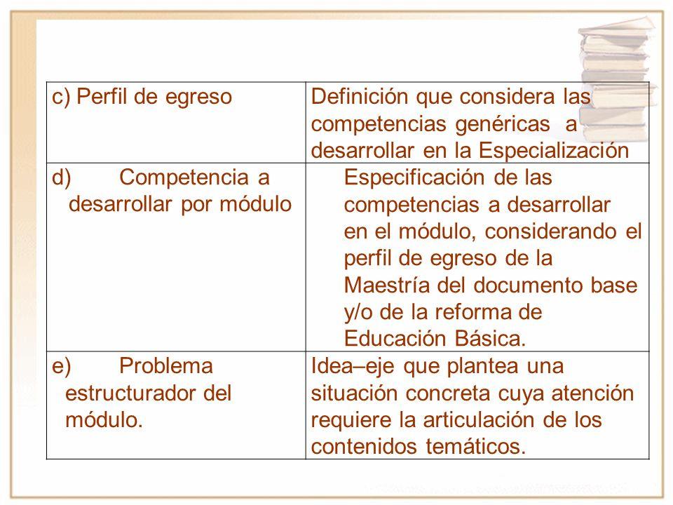 c) Perfil de egresoDefinición que considera las competencias genéricas a desarrollar en la Especialización d)Competencia a desarrollar por módulo Especificación de las competencias a desarrollar en el módulo, considerando el perfil de egreso de la Maestría del documento base y/o de la reforma de Educación Básica.
