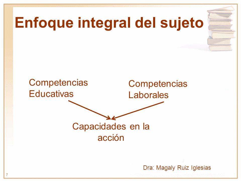 7 Enfoque integral del sujeto Capacidades en la acción Competencias Laborales Competencias Educativas Dra: Magaly Ruiz Iglesias
