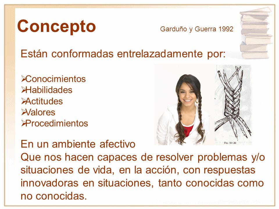 Perrenoud (1997) explicita el significado de la noción de competencia capacidad de actuar de manera eficaz en un tipo definido de situación, que se apoya en conocimientos, pero no se reduce a ellos.