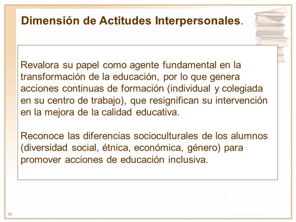 18 Revalora su papel como agente fundamental en la transformación de la educación, por lo que genera acciones continuas de formación (individual y col