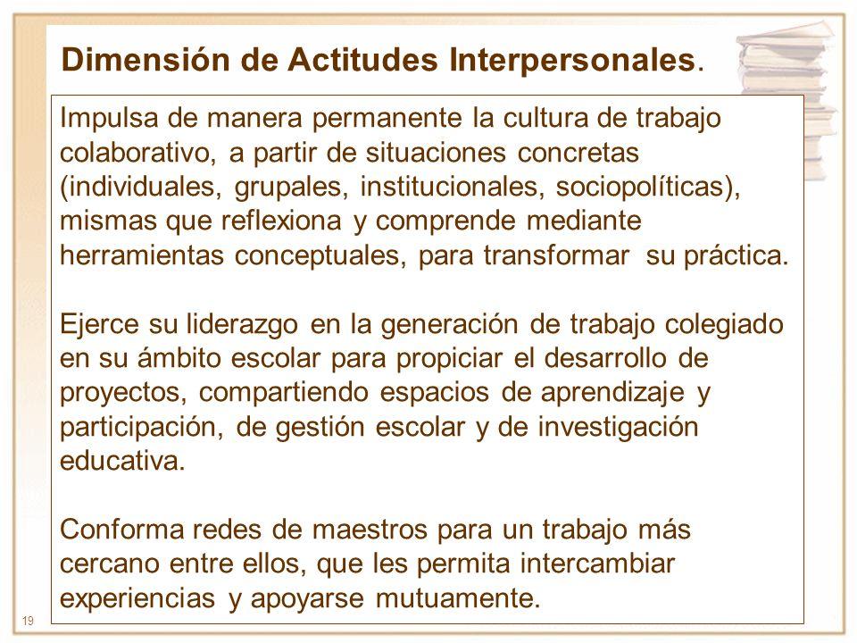 19 Impulsa de manera permanente la cultura de trabajo colaborativo, a partir de situaciones concretas (individuales, grupales, institucionales, sociop