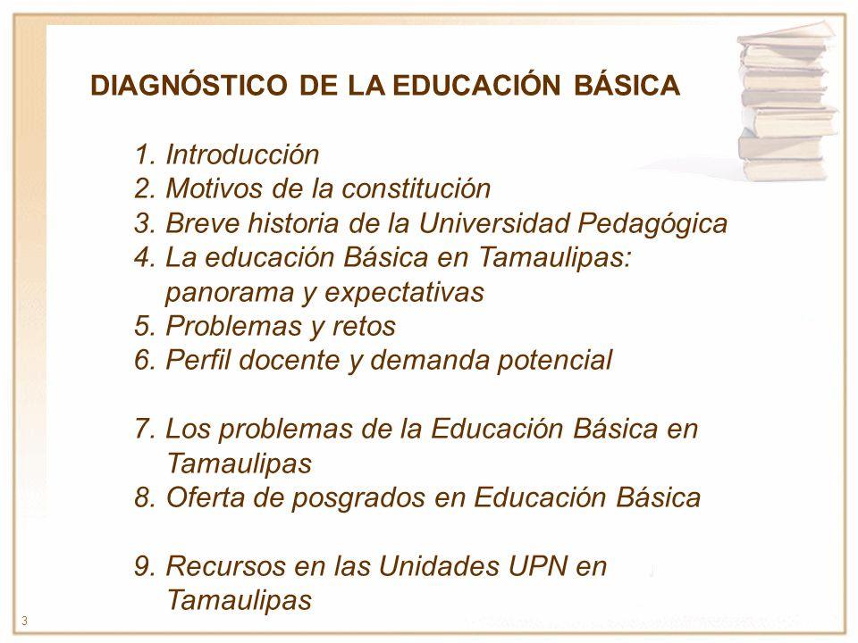 3 DIAGNÓSTICO DE LA EDUCACIÓN BÁSICA 1.Introducción 2.Motivos de la constitución 3.Breve historia de la Universidad Pedagógica 4.La educación Básica e