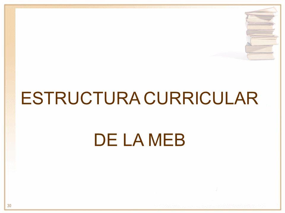 30 ESTRUCTURA CURRICULAR DE LA MEB