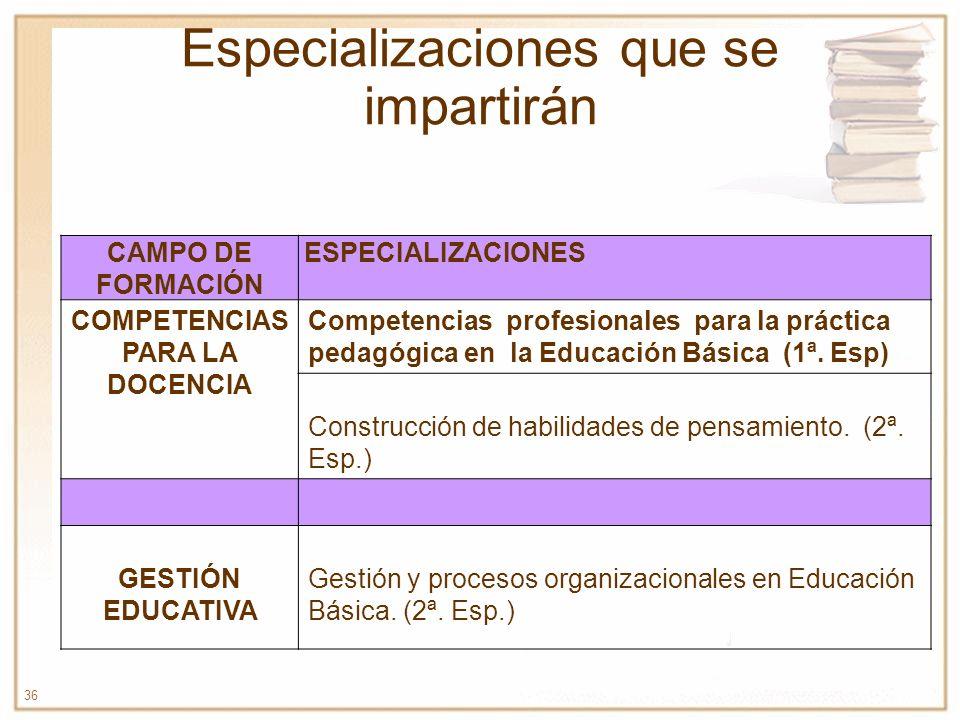 36 Especializaciones que se impartirán CAMPO DE FORMACIÓN ESPECIALIZACIONES COMPETENCIAS PARA LA DOCENCIA Competencias profesionales para la práctica
