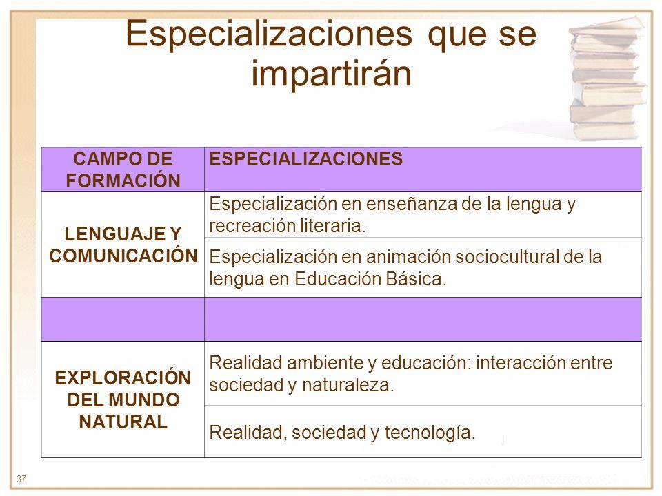 37 Especializaciones que se impartirán CAMPO DE FORMACIÓN ESPECIALIZACIONES LENGUAJE Y COMUNICACIÓN Especialización en enseñanza de la lengua y recrea