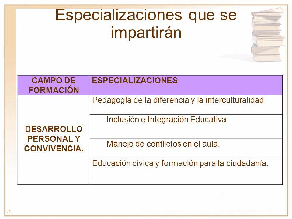 38 Especializaciones que se impartirán CAMPO DE FORMACIÓN ESPECIALIZACIONES DESARROLLO PERSONAL Y CONVIVENCIA. Pedagogía de la diferencia y la intercu